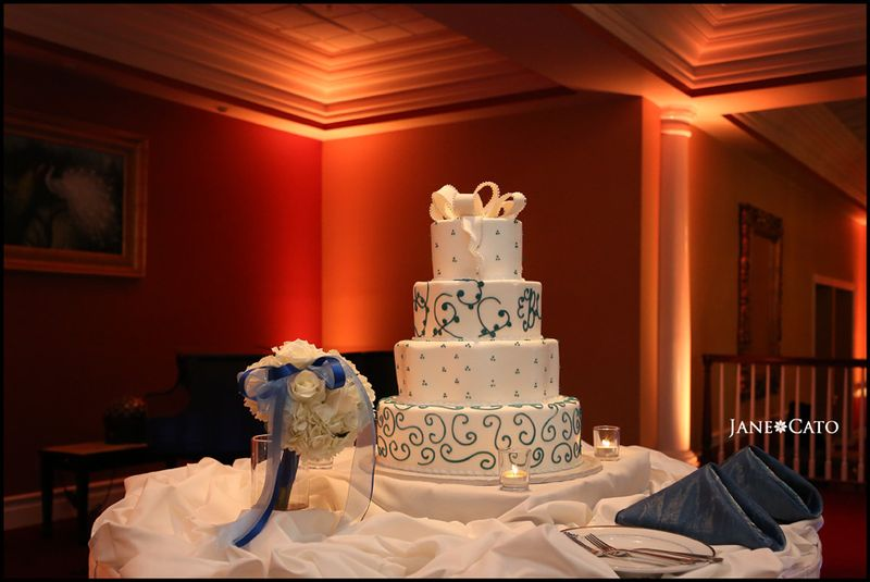 White Blue Orange Wedding Cake